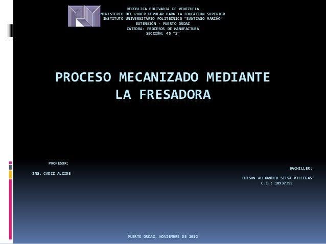 REPÚBLICA BOLIVARIA DE VENEZUELA                    MINISTERIO DEL PODER POPULAR PARA LA EDUCACIÓN SUPERIOR               ...