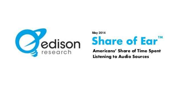 May 2014  Share of Ear  TM  Americans' Share of Time Spent  Listening to Audio Sources