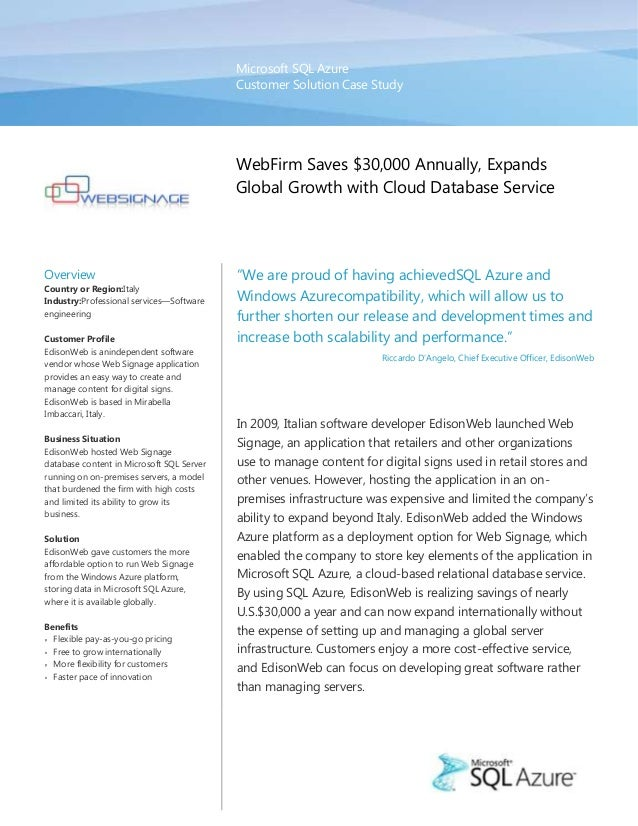 Microsoft SQL Azure                                           Customer Solution Case Study                                ...