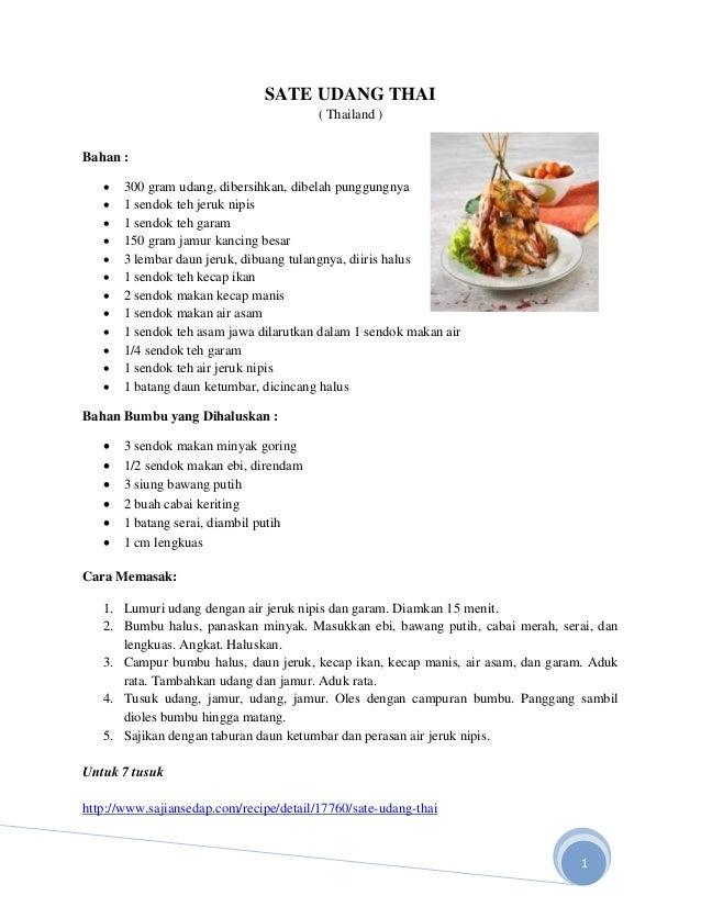 Resep Masakan Oriental  Sate Udang Thai Thailand Bahan  Ef  B  Gram Udang Dibersihkan