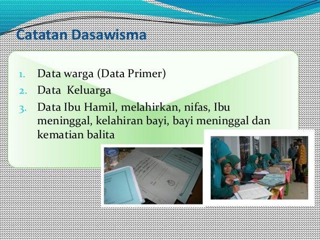 Catatan Dasawisma 1. Data warga (Data Primer) 2. Data Keluarga 3. Data Ibu Hamil, melahirkan, nifas, Ibu meninggal, kelahi...