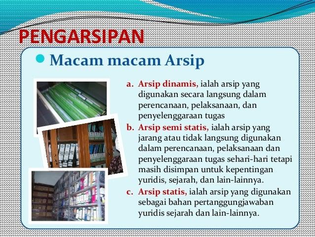 PENGARSIPAN Macam macam Arsip a. Arsip dinamis, ialah arsip yang digunakan secara langsung dalam perencanaan, pelaksanaan...