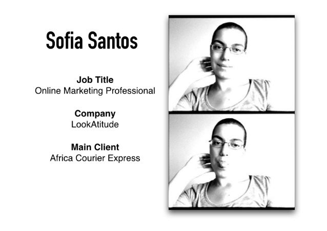 Sofia Santos     Job Title i 1 I 4 .  Online Marketing Professional '  Company LookAtitude  Main Client Africa Courier Exp...