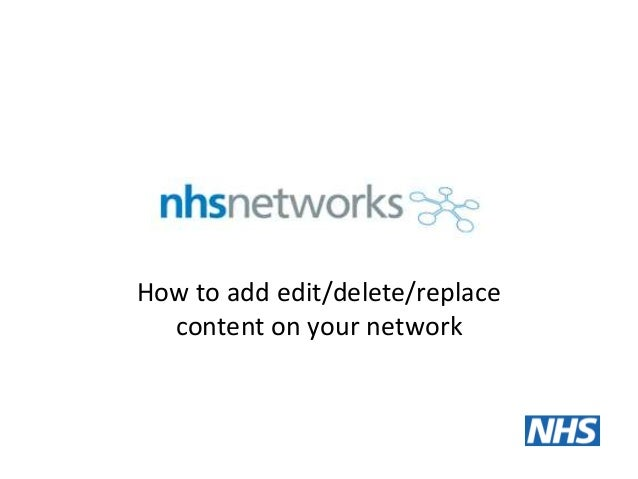How to add edit/delete/replace content on your network