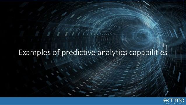 Examples of predictive analytics capabilities