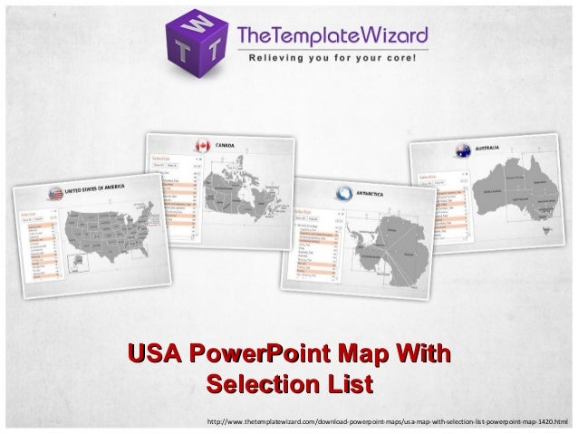 http://www.thetemplatewizard.com/download-powerpoint-maps/usa-map-with-selection-list-powerpoint-map-1420.html USA PowerPo...