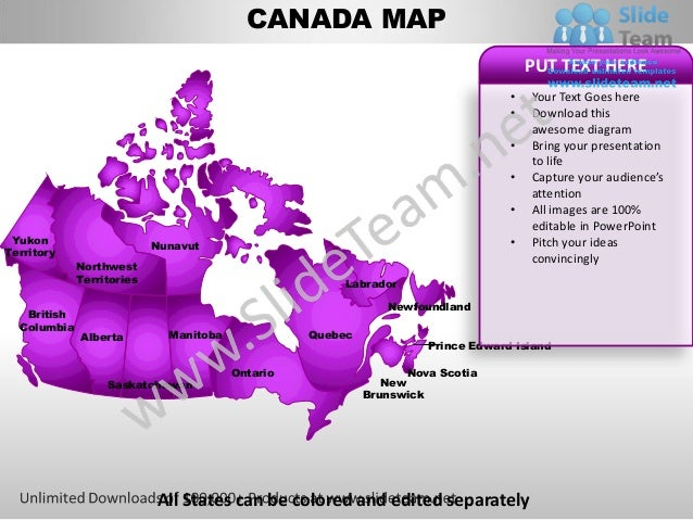 CANADA MAP                                                                                      PUT TEXT HERE             ...