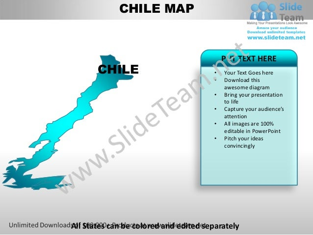 Editable Chile Power Point Map With Capital And Flag Templates Slides