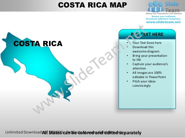 Editable costa rica power point map with capital and flag templates on