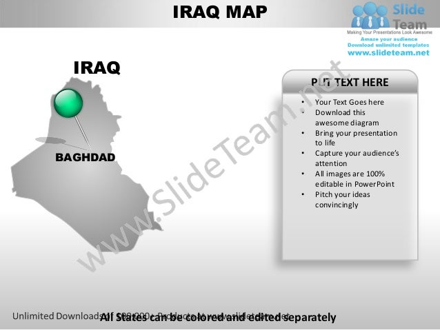 Editable iraq power point map with capital and flag templates slides …