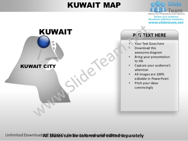 Editable kuwait power point map with capital and flag templates slide kuwait toneelgroepblik Gallery
