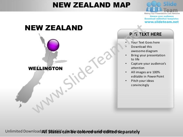 Editable new zealand power point map with capital and flag templates new zealand toneelgroepblik Image collections