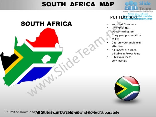 Editable south africa power point map with capital and flag templates