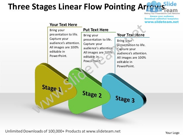 Editable Three Stages Linear Flow Pointing Arrows Organization Chart - Editable org chart template