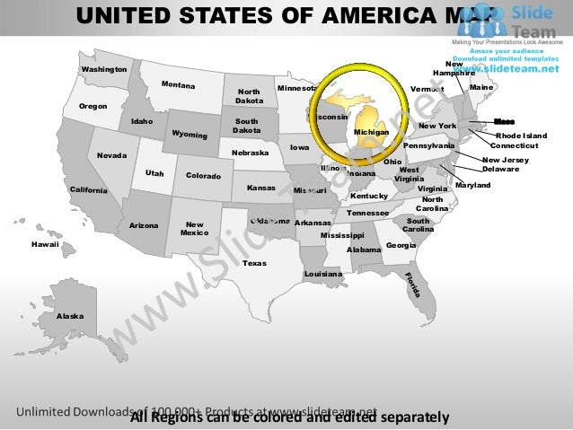 Editable Vector Business Usa Michigan State And County Powerpoint Map