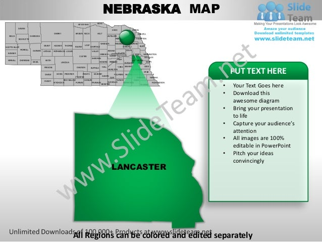 editable vector business usa nebraska state and county powerpoint map. Black Bedroom Furniture Sets. Home Design Ideas