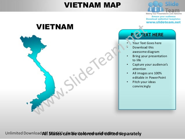 Editable vietnam power point map with capital and flag templates slid…