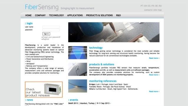 —Fibersensing.com 3 Setembro 2016 Lisboa — Design datado — Dificuldade em encontrar os conteúdos desejados — Conteúdos das...