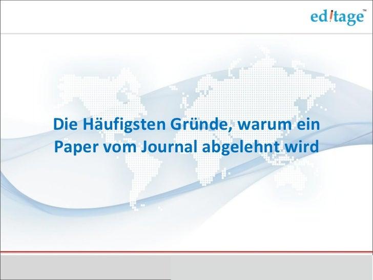 Die Häufigsten Gründe, warum ein Paper vom Journal abgelehnt wird