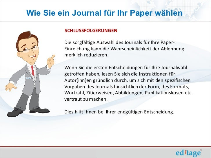 Wie Sie ein Journal für Ihr Paper wählen         SCHLUSSFOLGERUNGEN         Die sorgfältige Auswahl des Journals für Ihre ...