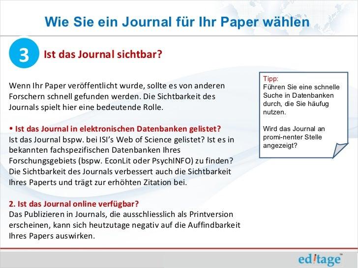 Wie Sie ein Journal für Ihr Paper wählen  3       Ist das Journal sichtbar?                                               ...