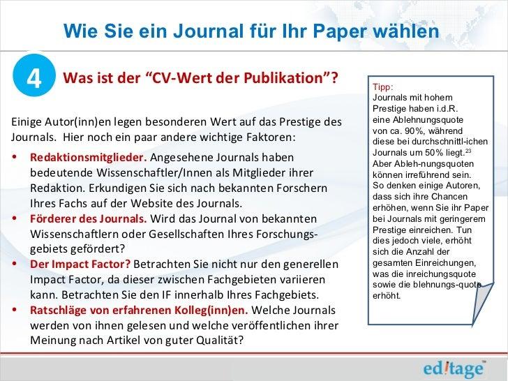 """Wie Sie ein Journal für Ihr Paper wählen    4     Was ist der """"CV-Wert der Publikation""""?                 Tipp:            ..."""
