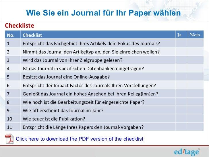 Wie Sie ein Journal für Ihr Paper wählenChecklisteNo.      Checklist                                                      ...