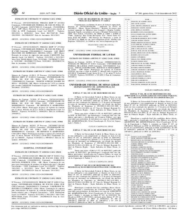 Nº 240, quinta-feira, 13 de dezembro de 201264 ISSN 1677-7069 Este documento pode ser verificado no endereço eletrônico ht...