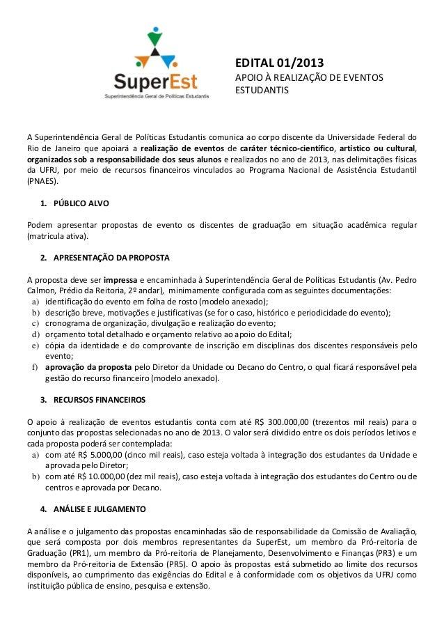 EDITAL 01/2013                                                        APOIO À REALIZAÇÃO DE EVENTOS                       ...