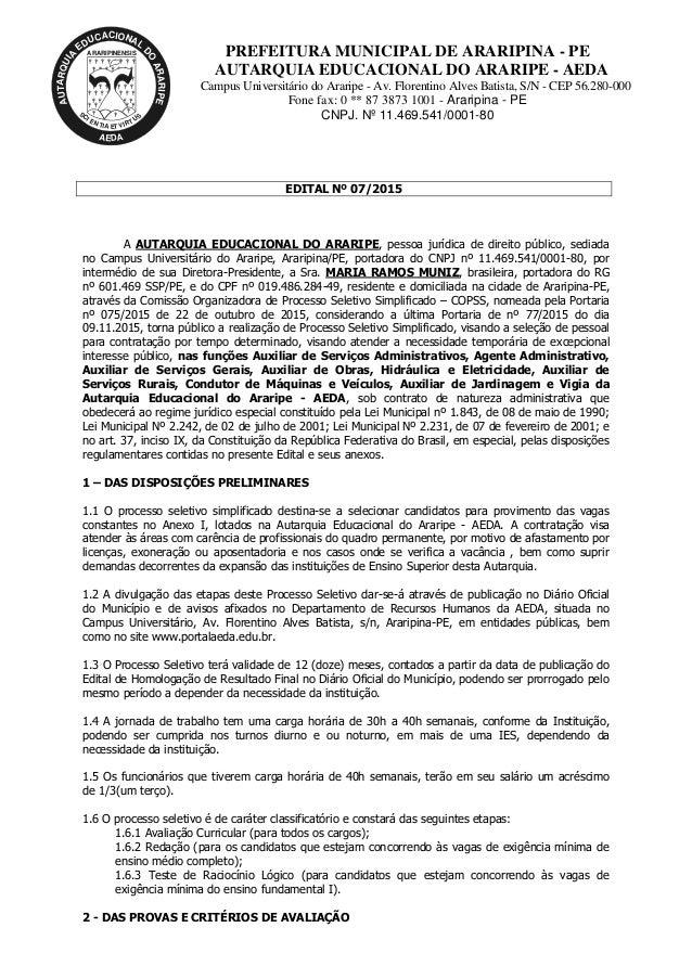 ARARIPINENSIS AUTARQUIA EDUCACIONAL D O ARARIPE AEDA S C I E N TIA ET VIRT US PREFEITURA MUNICIPAL DE ARARIPINA - PE AUTAR...