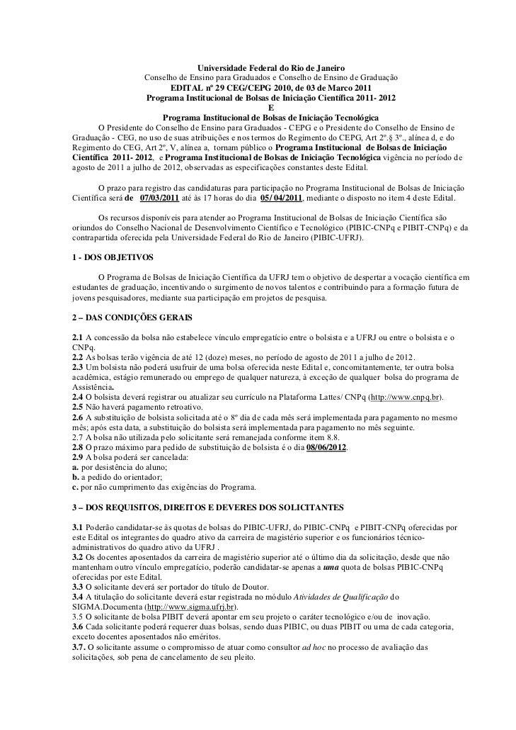 Universidade Federal do Rio de Janeiro                     Conselho de Ensino para Graduados e Conselho de Ensino de Gradu...