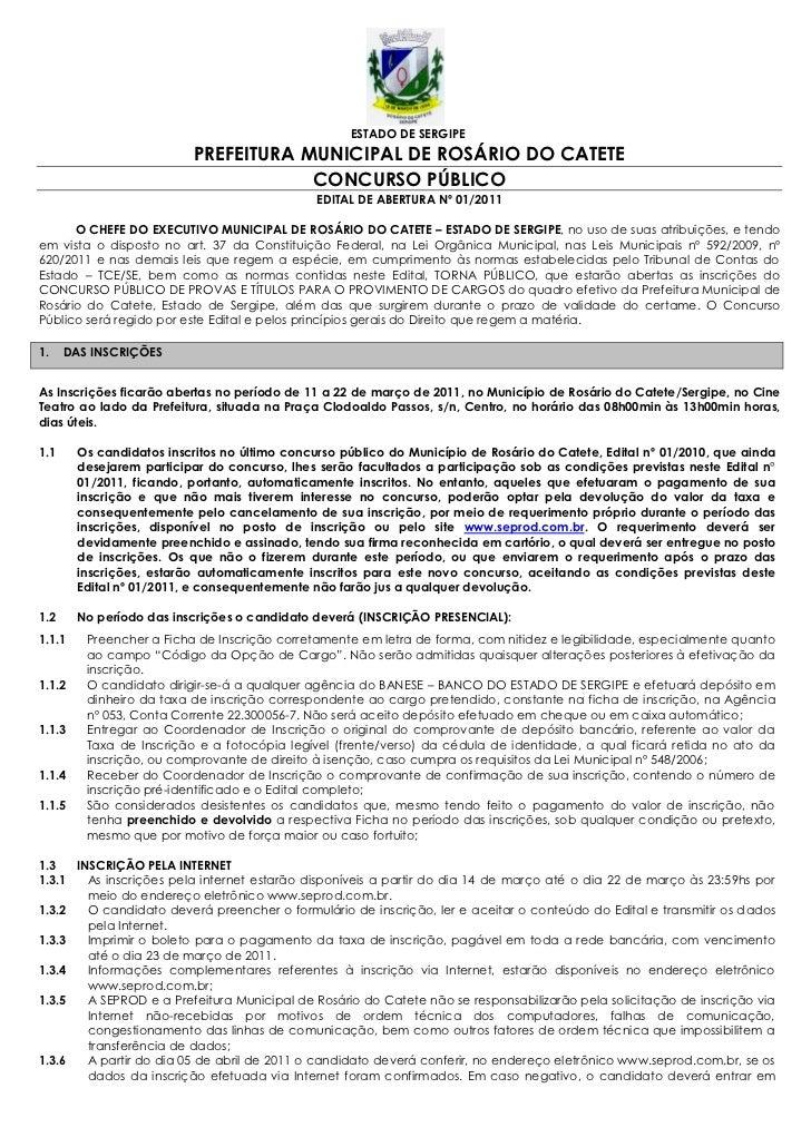ESTADO DE SERGIPE                           PREFEITURA MUNICIPAL DE ROSÁRIO DO CATETE                                     ...