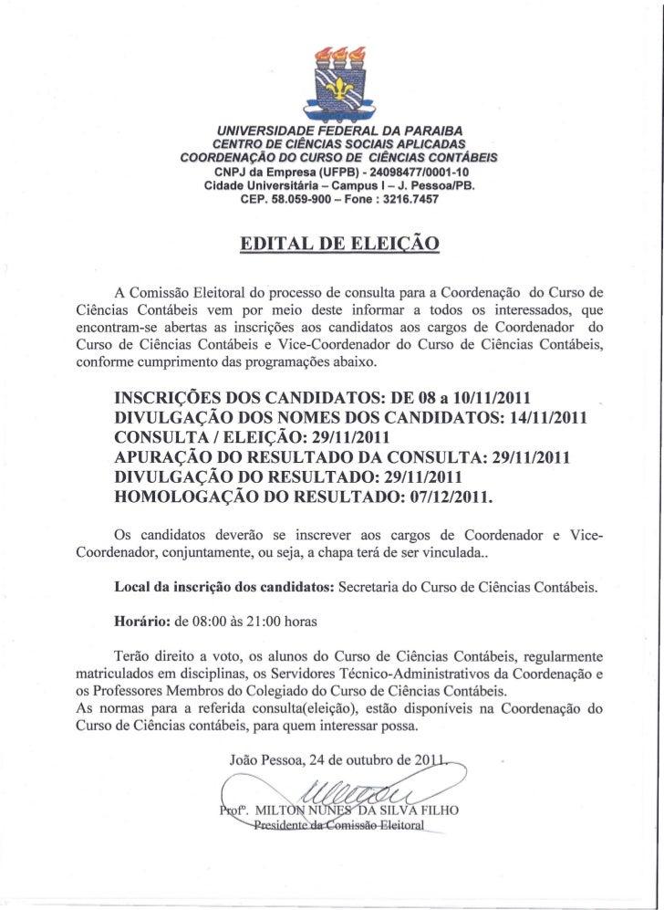 UNIVERSIDADE FEDERAL DA PARAIBA                    CENTRO DE CIÊNCIAS SOCIAIS APLlCADAS                COORDENAÇÃO 00 CURs...