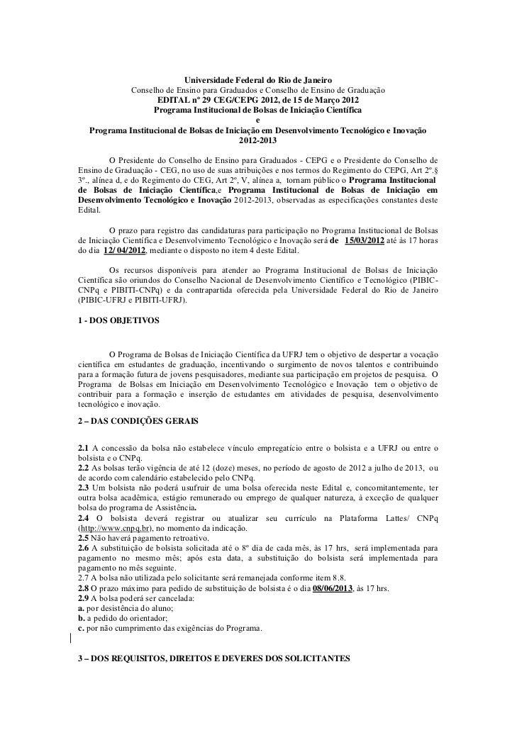 Universidade Federal do Rio de Janeiro            Conselho de Ensino para Graduados e Conselho de Ensino de Graduação     ...