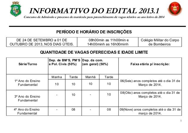 INFORMATIVO DO EDITAL 2013.1 Concurso de Admissão e processo de matrícula para preenchimento de vagas relativo ao ano leti...