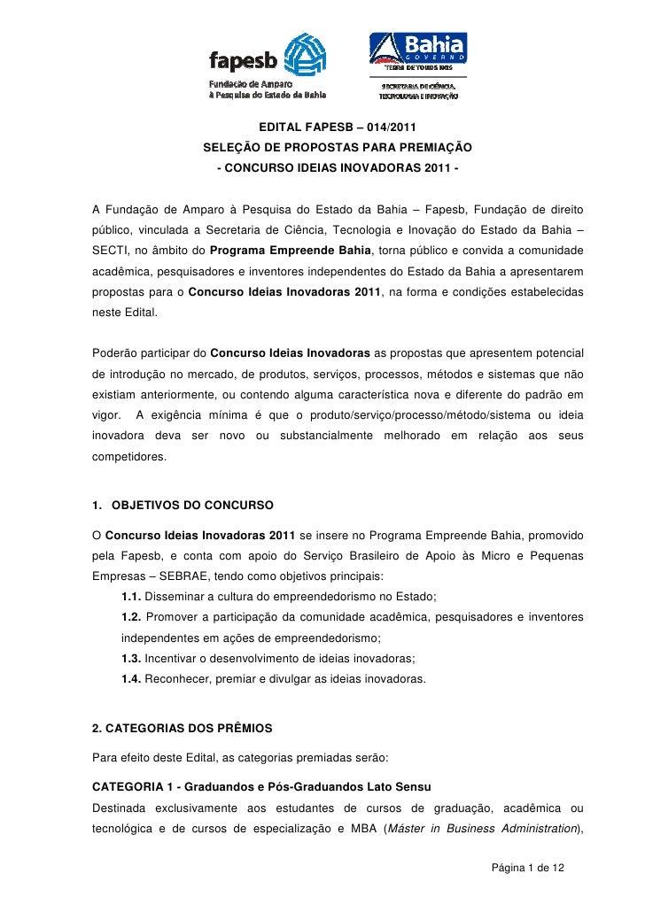 EDITAL FAPESB – 014/2011                        SELEÇÃO DE PROPOSTAS PARA PREMIAÇÃO                          - CONCURSO ID...