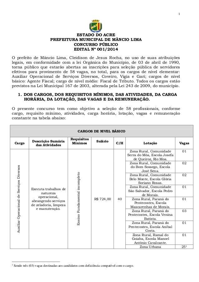 1  ESTADO DO ACRE PREFEITURA MUNICIPAL DE MÂNCIO LIMA CONCURSO PÚBLICO EDITAL Nº 001/2014 O prefeito de Mâncio Lima, Cleid...