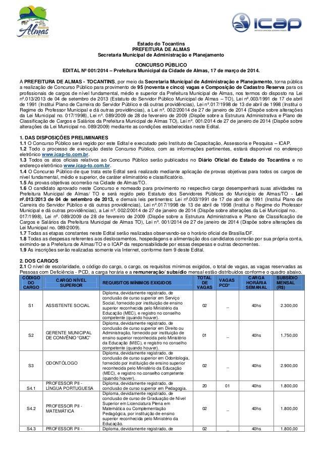 Estado do Tocantins PREFEITURA DE ALMAS Secretaria Municipal de Administração e Planejamento CONCURSO PÚBLICO EDITAL Nº 00...