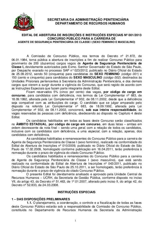 SECRETARIA DA ADMINISTRAÇÃO PENITENCIÁRIA                             DEPARTAMENTO DE RECURSOS HUMANOS       EDITAL DE ABE...