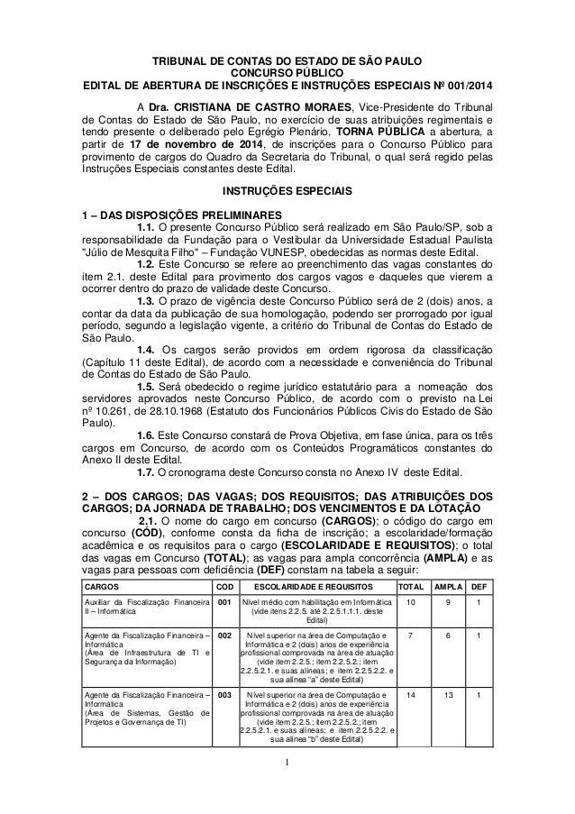1 TRIBUNAL DE CONTAS DO ESTADO DE SÃO PAULO CONCURSO PÚBLICO EDITAL DE ABERTURA DE INSCRIÇÕES E INSTRUÇÕES ESPECIAIS Nº 00...
