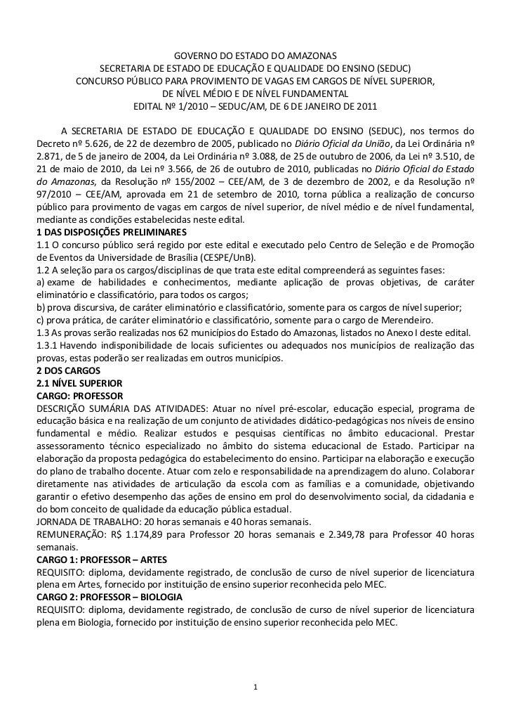 GOVERNO DO ESTADO DO AMAZONAS             SECRETARIA DE ESTADO DE EDUCAÇÃO E QUALIDADE DO ENSINO (SEDUC)         CONCURSO ...