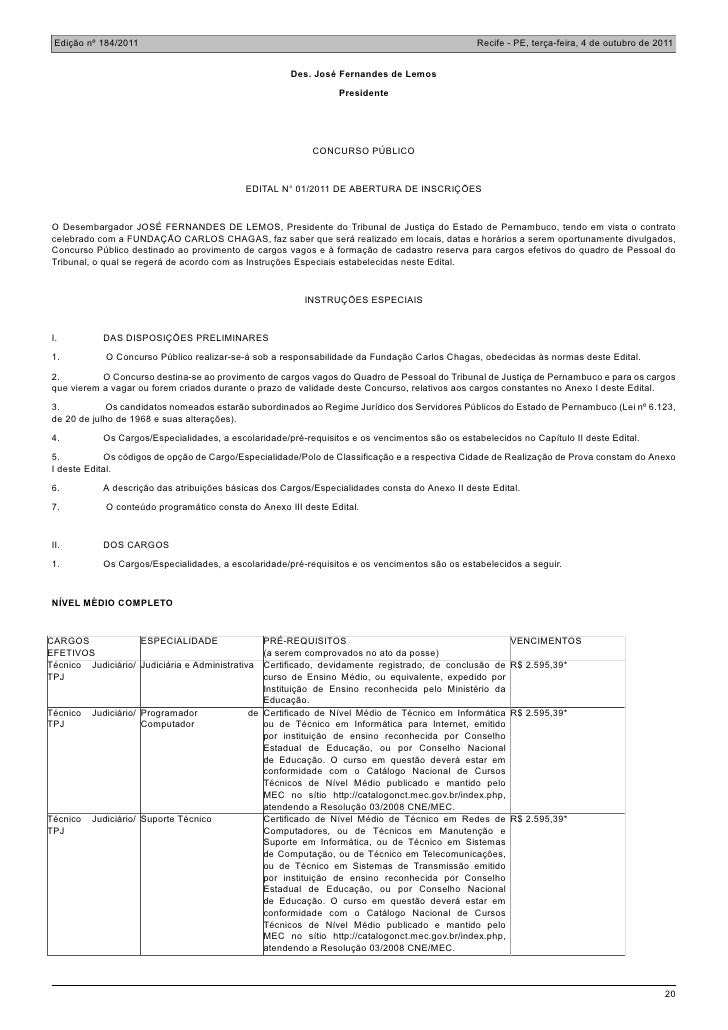 Edição nº 184/2011                                                                             Recife - PE, terça-feira, 4...