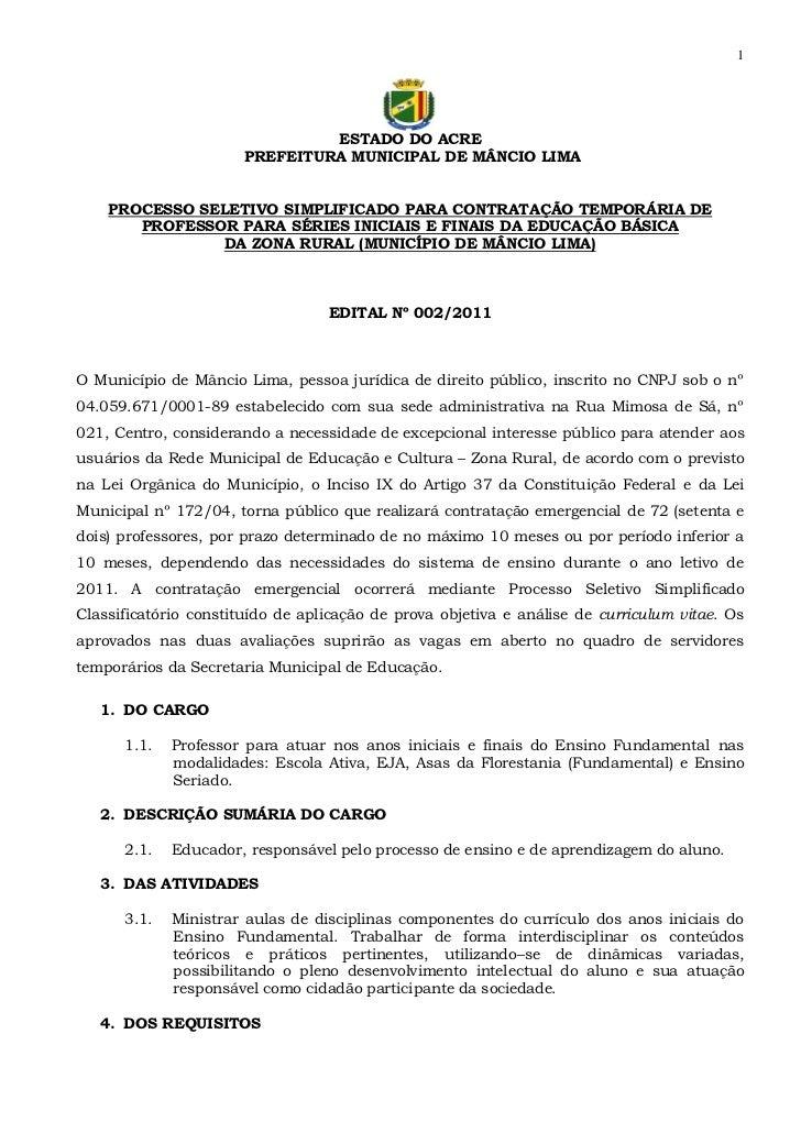 1                                ESTADO DO ACRE                       PREFEITURA MUNICIPAL DE MÂNCIO LIMA    PROCESSO SELE...