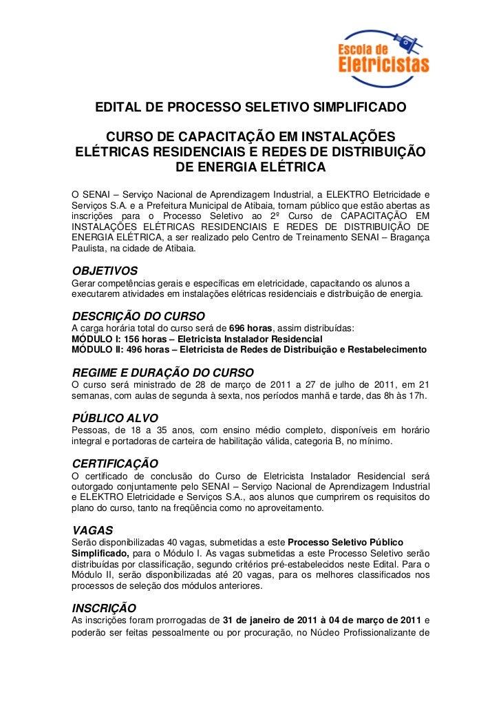EDITAL DE PROCESSO SELETIVO SIMPLIFICADO    CURSO DE CAPACITAÇÃO EM INSTALAÇÕESELÉTRICAS RESIDENCIAIS E REDES DE DISTRIBUI...