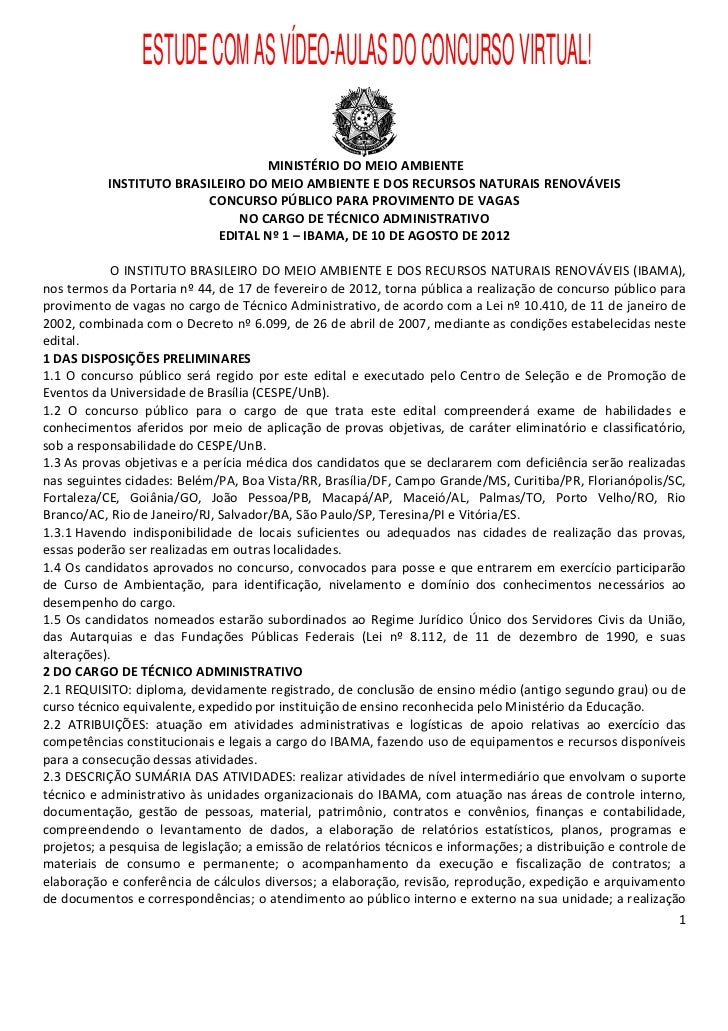 ESTUDE COM AS VÍDEO-AULAS DO CONCURSO VIRTUAL!                                  MINISTÉRIO DO MEIO AMBIENTE           INST...