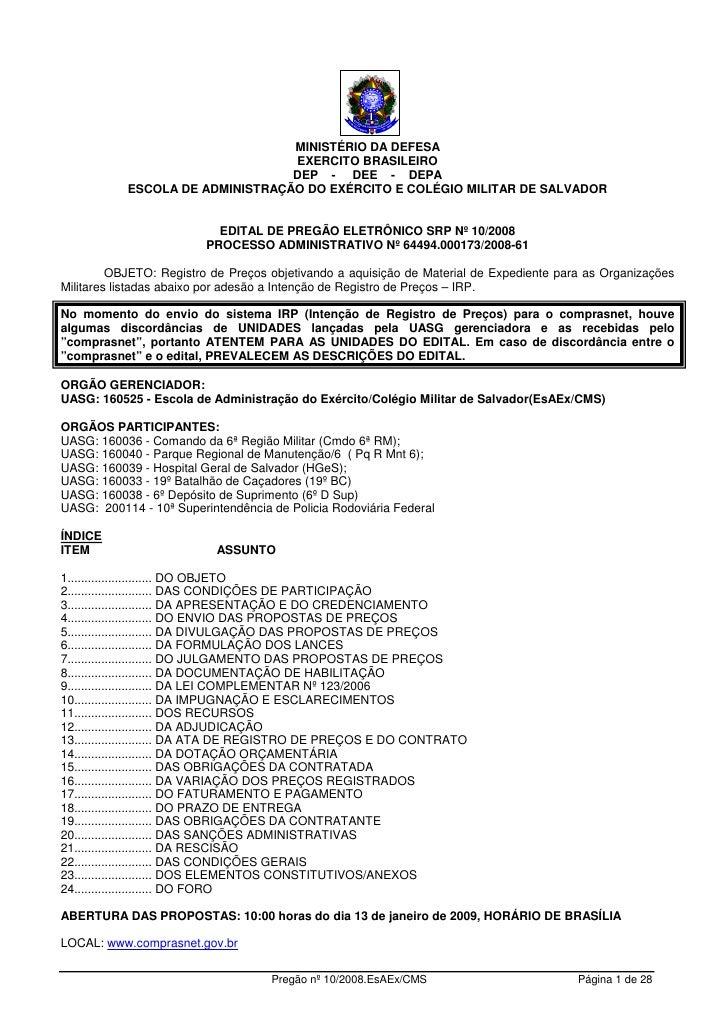 MINISTÉRIO DA DEFESA                                  EXERCITO BRASILEIRO                                  DEP - DEE - DEP...