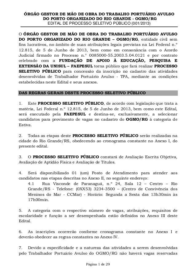 ÓRGÃO GESTOR DE MÃO DE OBRA DO TRABALHO PORTUÁRIO AVULSO DO PORTO ORGANIZADO DO RIO GRANDE - OGMO/RG EDITAL DE PROCESSO SE...