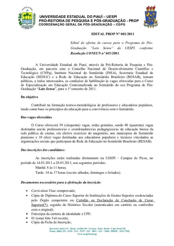 UNIVERSIDADE ESTADUAL DO PIAUÍ – UESPI              PRÓ-REITORIA DE PESQUISA E PÓS-GRADUAÇÃO - PROP              COORDENAÇ...