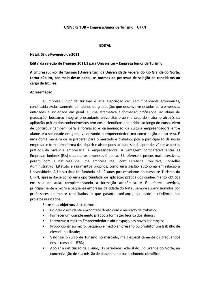 UNIVERSITUR – Empresa Júnior de Turismo | UFRN                                          EDITALNatal, 09 de Fevereiro de 20...