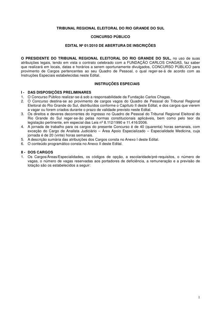 TRIBUNAL REGIONAL ELEITORAL DO RIO GRANDE DO SUL                                            CONCURSO PÚBLICO              ...